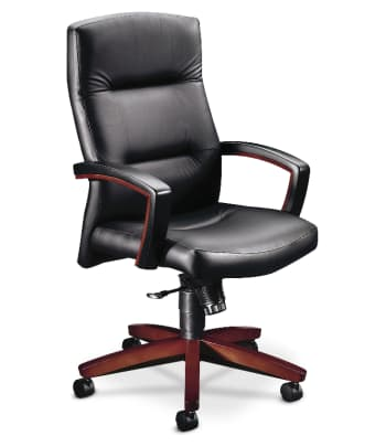 HON Park Avenue Collection High-Back Chair | Fixed Arms | Wood Trim | Mahogany Finish | Black Leather