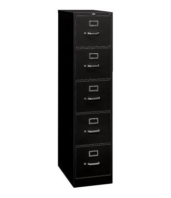 "HON 310 Series Vertical File | 5 Drawers | Legal Width | 18-1/4""W x 26-1/2""D | Black Finish"