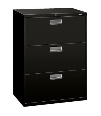 "HON Brigade 600 Series Lateral File | 3 Drawers | Aluminum Pull | 30""W | Black Finish"