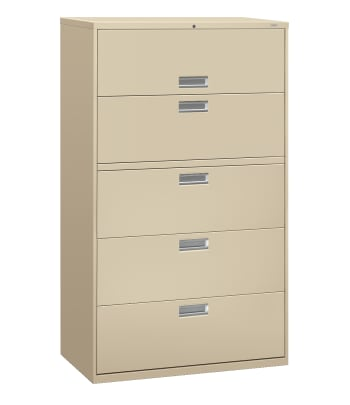 "HON Brigade 600 Series Lateral File | 5 Drawers | Aluminum Pull | 42""W 