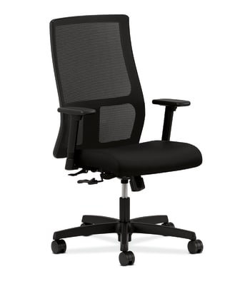 HON Ignition Mid-Back Mesh Task Chair   Center-Tilt   Adjustable Arms   Black Fabric