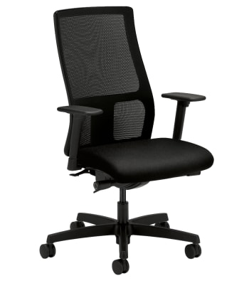 HON Ignition Mid-Back Task Chair | Height- and Width-Adjustable Arms | Hard Casters | Black 4-way stretch Mesh Back | Black Seat Fabric | Black Frame | Standard Base