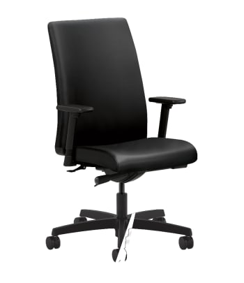 HON Ignition Mid-Back Task Chair | Synchro-Tilt | Adjustable Arms | Black Leather