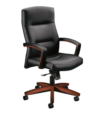 HON Park Avenue Collection High-Back Chair | Fixed Arms | Wood Trim |Cognac Finish | Black Leather