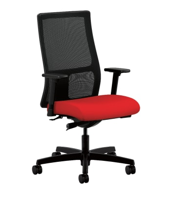 HON Ignition Mid-Back Task Chair | Height- and Width-Adjustable Arms | Hard Casters | Black 4-way stretch Mesh Back | Ruby Seat Fabric | Black Frame | Standard Base