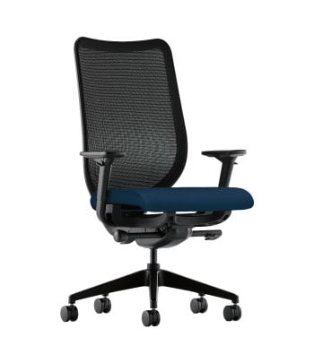 HON Nucleus Task Chair | Black 4-way stretch Back | Synchro-Tilt, Seat Glide | Adjustable Arms | Navy Fabric