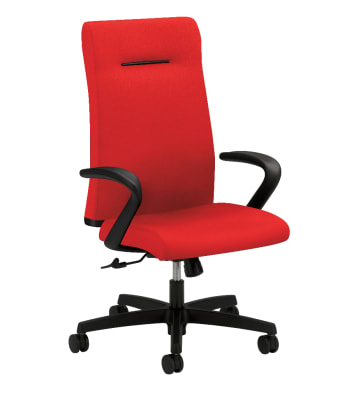 HON Ignition Executive High-Back Task Chair | Fixed Arms | Hard Casters | Upholstered Back | Ruby Fabric | Standard Base