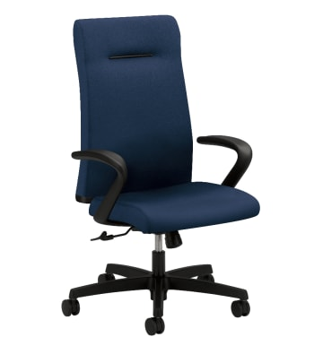 HON Ignition Executive High-Back Task Chair | Fixed Arms | Hard Casters | Upholstered Back | Navy Fabric | Standard Base