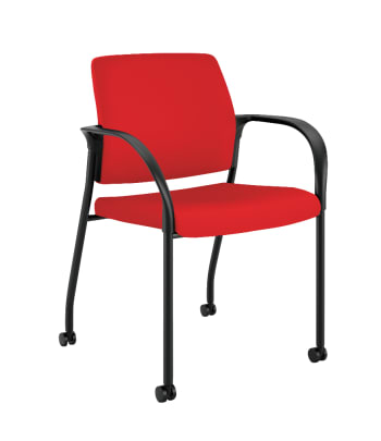 HON Ignition Multi-Purpose Stacking Chair   4-Leg   Fixed Arms   All Surface Casters   Upholstered Back   Ruby Fabric   Black Frame