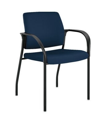 HON Ignition Multi-Purpose Stacking Chair | 4-Leg | Fixed Arms | Glides | Upholstered Back | Navy Fabric | Black Frame