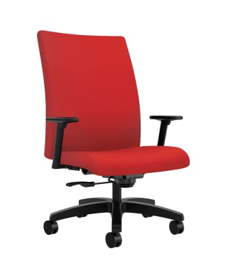 HON Ignition Big and Tall Chair | Height- and Width-Adjustable Arms | All Surface Casters | Upholstered Back | Ruby Seat Fabric | Standard Base | Black Frame