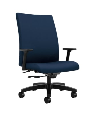 HON Ignition Big and Tall Chair | Height- and Width-Adjustable Arms | All Surface Casters | Upholstered Back | Navy Seat Fabric | Standard Base | Black Frame