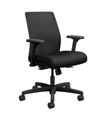 HON Ignition 2.0 4-way stretch Mesh Back Task Chair | Synchro-Tilt Control With Seat Slider | Height- and Width-Adjustable Arms | Adjustable Lumbar Support | Hard Casters | Black 4-way stretch Mesh Back | Black Seat Fabric | Black Frame