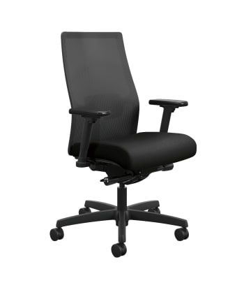HON Ignition 2.0 4-way stretch Mesh Back Task Chair | Advanced Synchro-Tilt Control | Height- and Width-Adjustable Arms | Adjustable Lumbar Support | Hard Casters | Black 4-way stretch Mesh Back | Black Seat Fabric | Standard Base | Black Frame