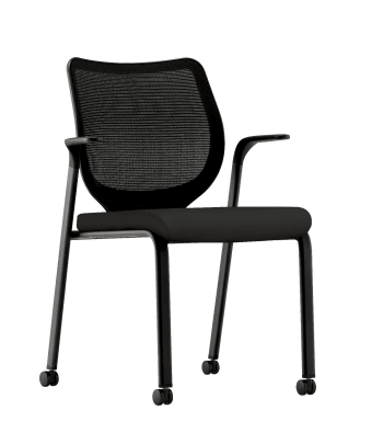 HON Nucleus Knit Mesh Back Stacking Chair | Fixed Arms | Casters | Black Mesh Back | Black Frame | Black Fabric