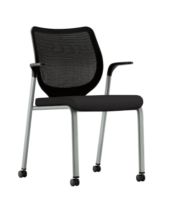 HON Nucleus Knit Mesh Back Stacking Chair | Fixed Arms | Casters | Black Mesh Back | Platinum Metallic Frame | Black Fabric