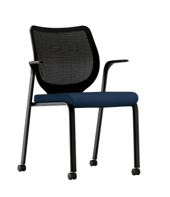 HON Nucleus Knit Mesh Back Stacking Chair | Fixed Arms | Casters | Black Mesh Back | Black Frame | Navy Fabric