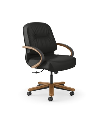 HON Pillow-Soft Executive Mid-Back Chair | Center-Tilt | Fixed Arms | Black Leather