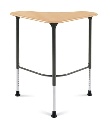 Student Desk, Sit-to-Stand, Natural Maple/Charcoal