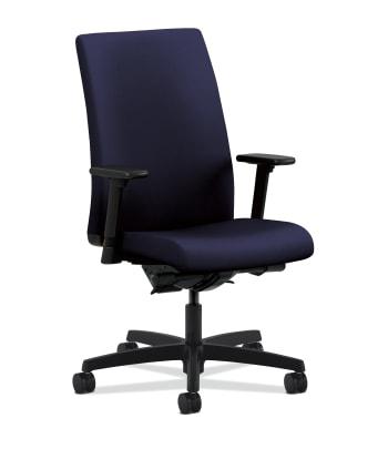 HON Ignition Mid-Back Task Chair   Synchro-Tilt, Back Angle   Adjustable Arms   Navy Fabric