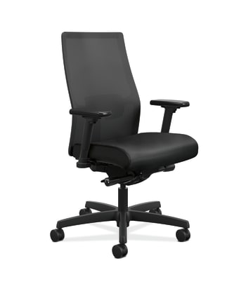 HON Ignition 2.0 Mid-Back Task Chair | Black 4-way stretch Mesh Back | Easy Assembly | Black Vinyl