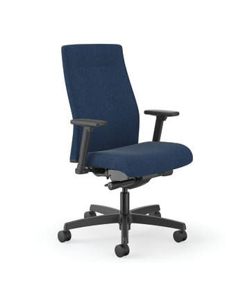 HON Ignition Mid-Back Task Chair | Easy Assembly | Advanced Synchro-Tilt Control | Hard Casters | Height- and Width-Adjustable Arms | Black Frame | Navy Fabric