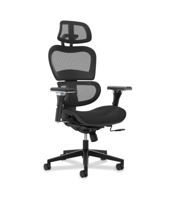 HON Neutralize Mesh Task Chair | Synchro-Tilt Control | Height-Adjustable Arms | Adjustable Headrest | Black Mesh | Black Base