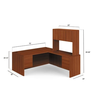 "HON 10700 Series L-Workstation | Left Desk, Return, Hutch | 72""W x 84""D 