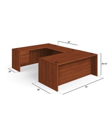 "HON 10700 Series U-Workstation | Right Desk, Bridge, Credenza | 72""W x 107""D | Cognac Finish"