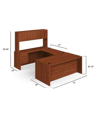 "HON 10700 Series U-Workstation | Right Desk, Bridge, Credenza, Hutch | 72""W x 107""D | Cognac Finish"