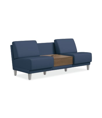 HON Grove Two-Seat Lounge With Table | Armless | Tapered Square Legs | Jet Fabric