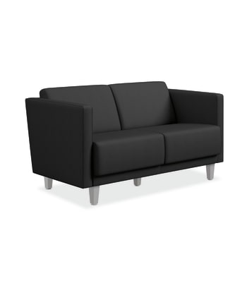 HON Grove Two-Seat Lounge | Straight Arms | Tapered Square Legs | Carbon Fabric