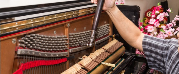 A piano tuner makes minute adjustments to the tension of the strings of a piano, in order to properly align the intervals between their tones.