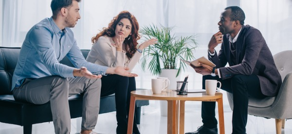 A marriage therapist (or marriage counselor) is someone who helps couples who are either engaged to be married and would like advice, or who are already married and are experiencing issues that need to be resolved.