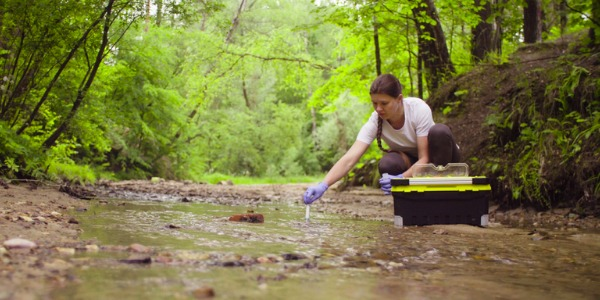 A marine biology graduate taking samples from a forest creek.