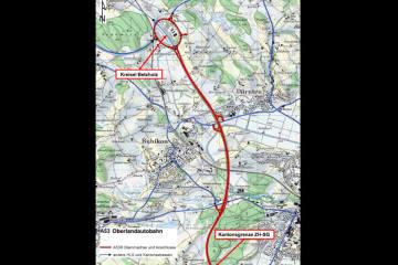 Bauarbeiten an der Oberlandautobahn A53 zwischen Hinwil und Rüti ZH