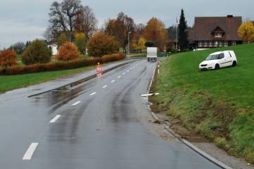 Sempach LU - Lieferwagen schlittert ins Wiesland - Zeugenaufruf
