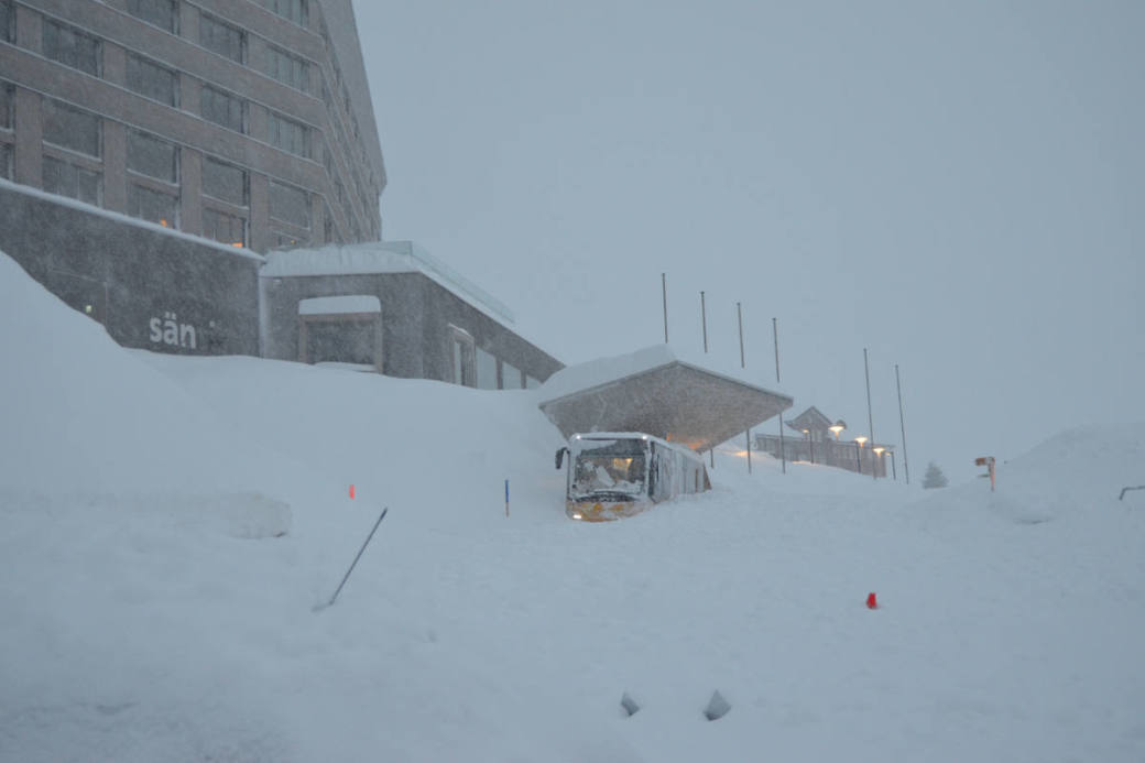 Situation vor dem Hotel Säntis auf der Schwägalp.