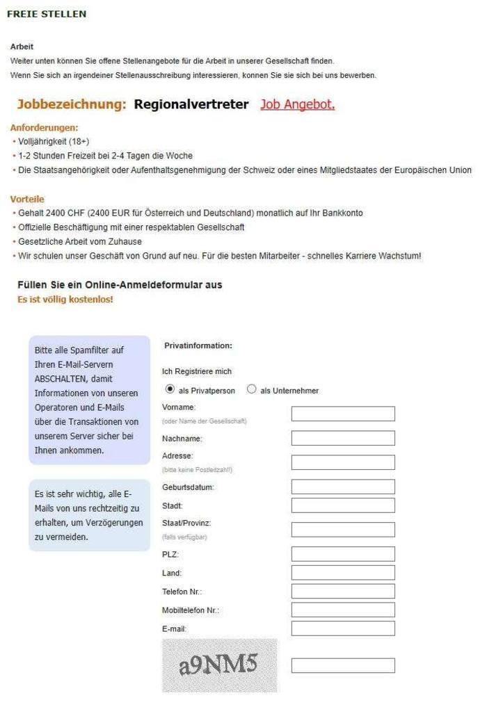 Screenshot Jobinserat