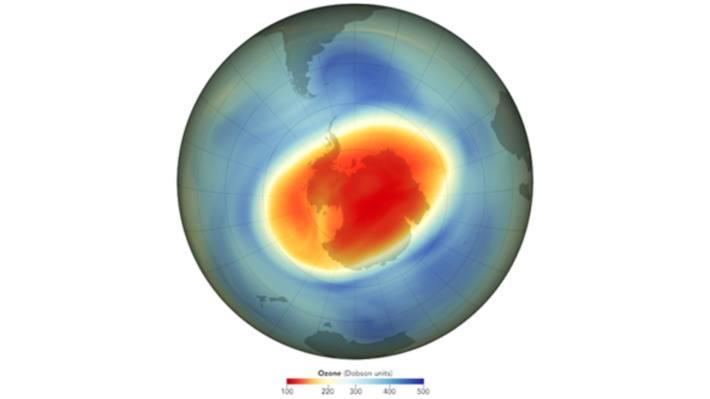 Im September 2020 erreichte das Ozonloch über der Antarktis (s. Bild) mit einer Grösse von knapp 25 Millionen Quadratkilometern ein historisches Ausmass.