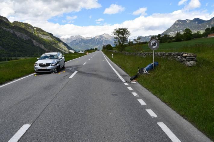 Ein schwerer Motorradunfall ereignete sich heute in Chur GR.
