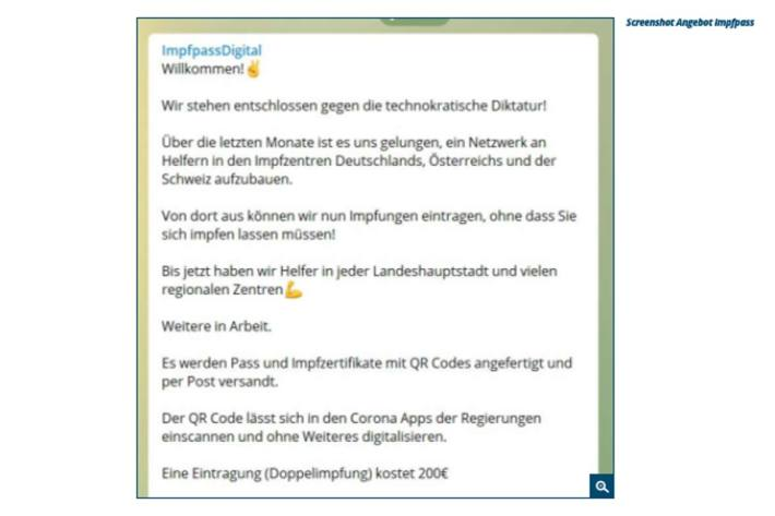 Screenshot Angebot Impfpass.
