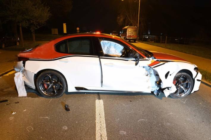 Die über 500 PS starke Alfa Romeo Giulia erlitt einen Totalschaden beim Unfall in Nottwil LU.