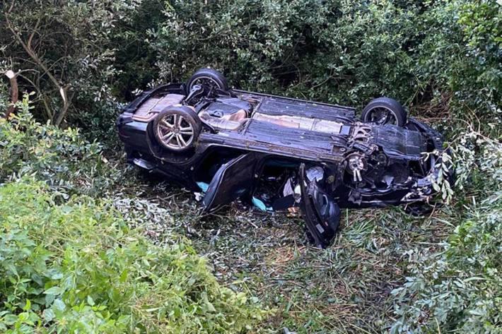 Offenbar nur leichte Verletzungen erlitt der PKW-Fahrer bei dem Unfall in Kranenburg