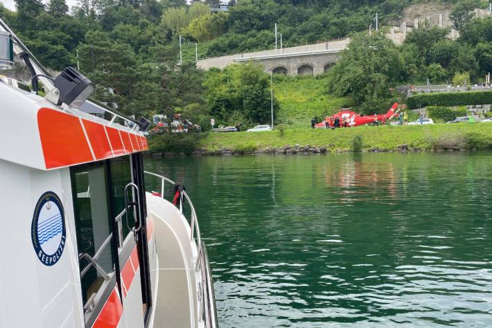 Rettungshelikoptereinsatz nach Tauchunfall am Zugersee in Walchwil