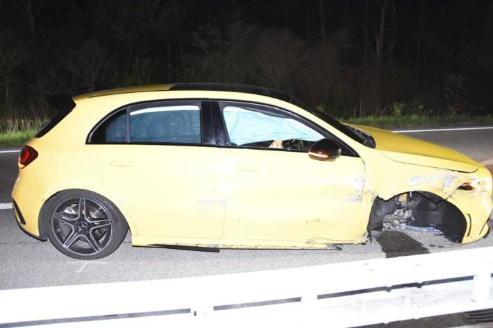 Selbstunfall auf Autobahn in Mels