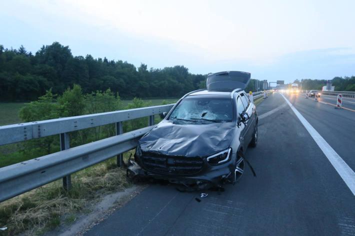 Unfallfahrzeug auf der A1 bei Dinklage