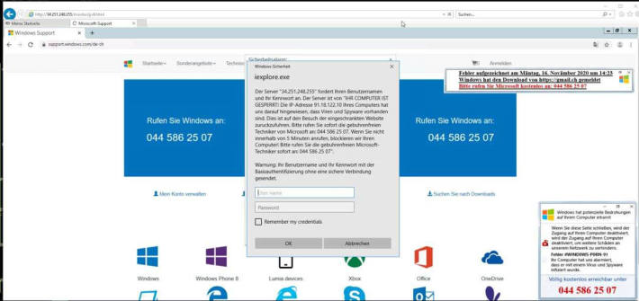 Screenshot Windows Warnung