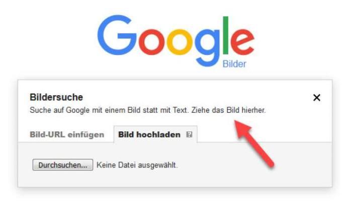 Google Bildersuche - Bild des vermeintlichen Partners hochladen (auf Kamera-Symbol im Suchfeld klicken)