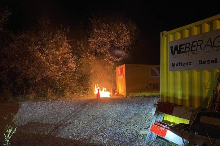 In Liestal BL brannte es gestern auf einer Baustelle.
